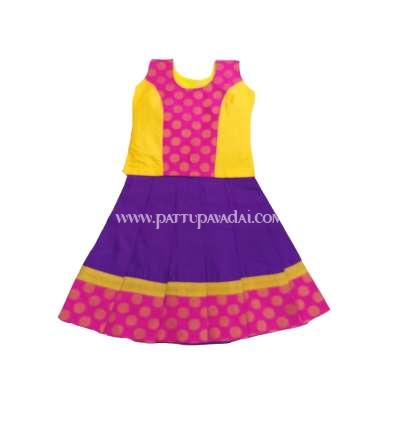 Kids Pattu Pavadai Violet and Yellow