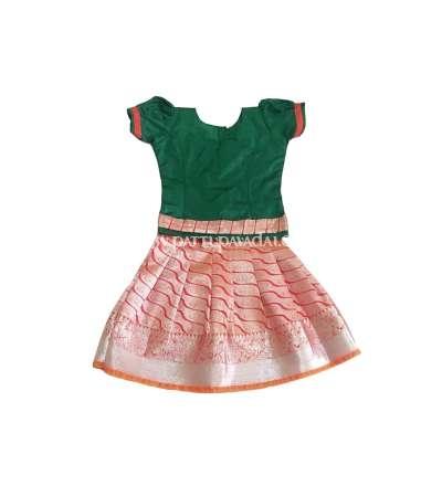 Kids Pattupavadai Orange and Green