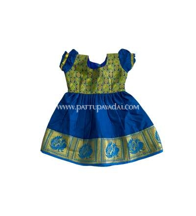 Kids Pure Silk Frock Blue and Golden