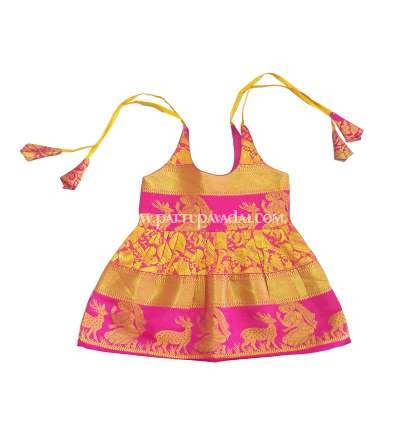 Kids Pure Silk Frock Golden and Pink