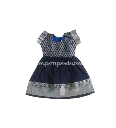 Kids Pure Silk Frock Navy Blue and Silver
