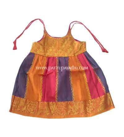 Kids Pure Silk Frock Pink Stripes Online USA