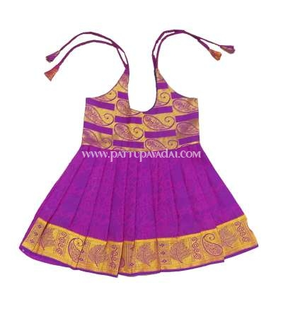 Buy Kids Pure Silk Frock Purple and Golden Online USA
