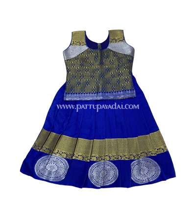 Kids Pure Silk Pavadai Blue and Golden