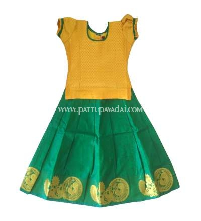 Buy Online Pure Silk Pavadai Green and Yellow