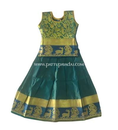 Buy Online Kids Pure Silk Pavadai Peacock Blue