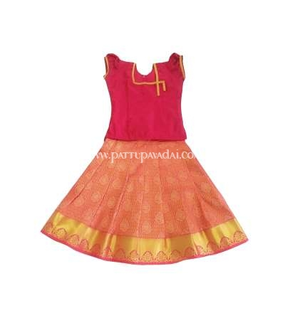 Readymade pure pattu pavadai pink and gold