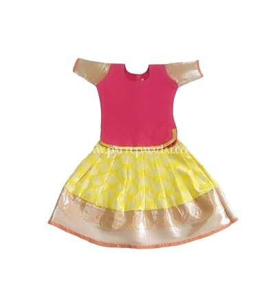 Buy Online Kids Pure Silk Pavadai Pink and Yellow