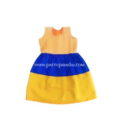 Kids Silk Frock Blue and Orange