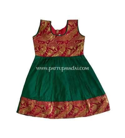 Kids Silk Frock Maroon and Green