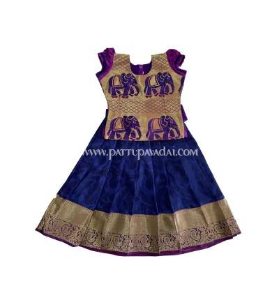 Kids Silk Frock Navy Blue and Magenta