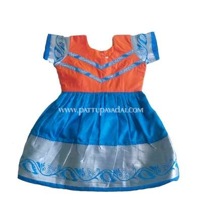 Kids Silk Frock Orange and Blue