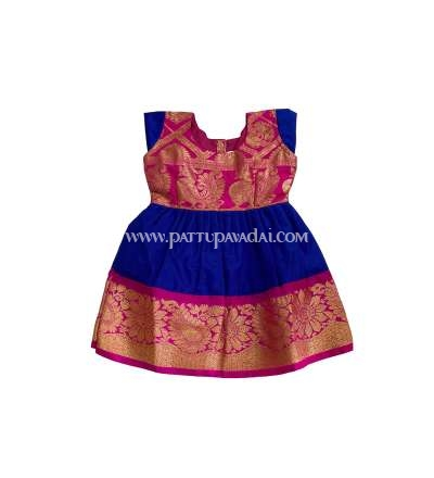 Buy Kids Pure Silk Frock Pink and Blue only at pattupavadai.com