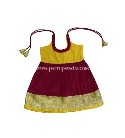 Buy Kids Silk Frock Red and Yellow only at pattupavadai.com