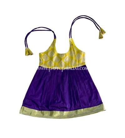 Just Born Pure Silk Frock Violet and Yellow