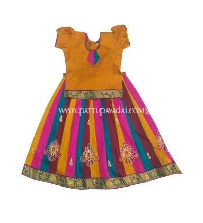 Kids Silk Pavadai Brown Top and Multi-Coloured Skirt 9 Years