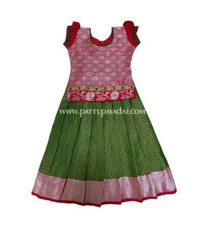Buy Kids Silk Pavadai Green and Golden only at pattupavadai.com