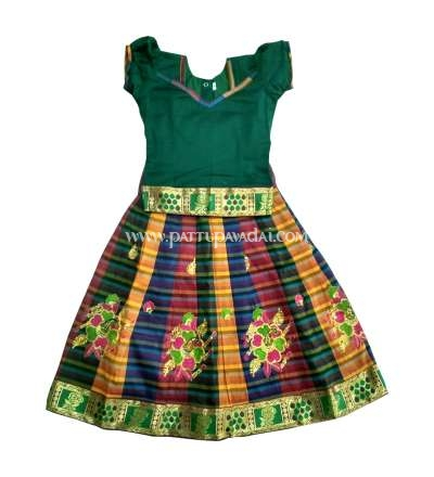 Kids Silk Pavadai Green Top and Multi-Coloured Skirt 1 Year