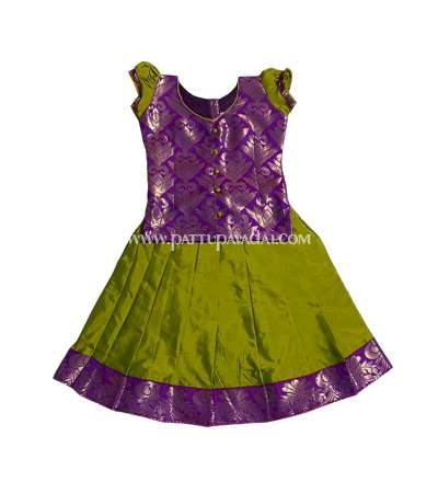 Kids Soft Silk Pavadai Parrot Green and Violet
