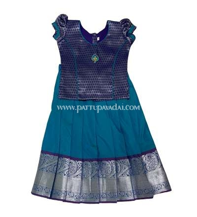 Kids Silk Pavadai Sky Blue and Navy Blue