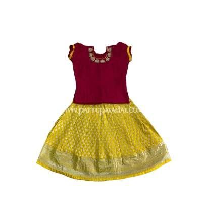 Kids Silk Pavadai Yellow and Dark Pink