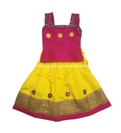 Kids Sleeveless Fancy Langa Pink and Yellow