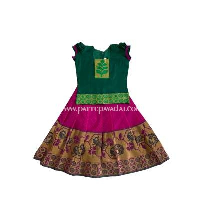 Buy Kids Pure Silk Pavadai Pink and Green USA