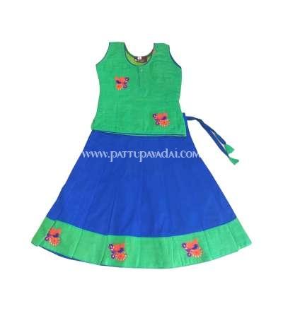 Kids Traditional Green and Blue Pavadai Langa