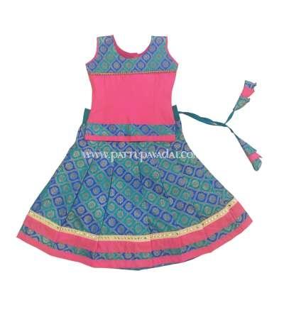 Kids Traditional Pink and Blue Pavadai Langa