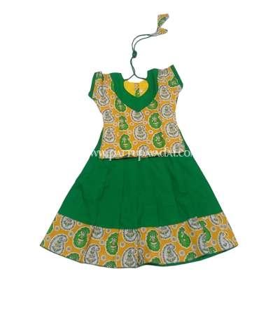 Kids Yellow and Green Pavadai Set