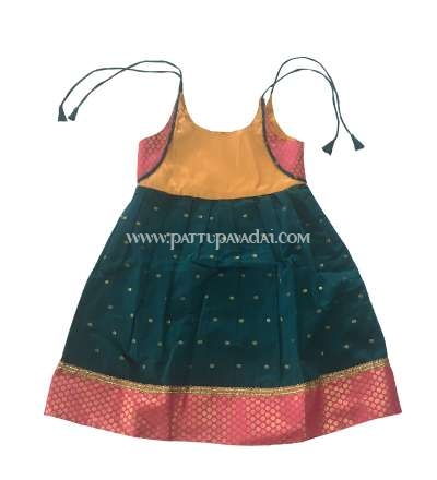 Buy Kora Frock with Brocade Border Green only at pattupavadai.com