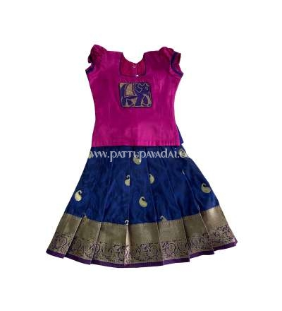 Magenta and Navy Blue Soft Silk Pavadai