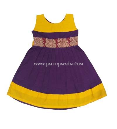 Magenta and Yellow  Pure Cotton Frock