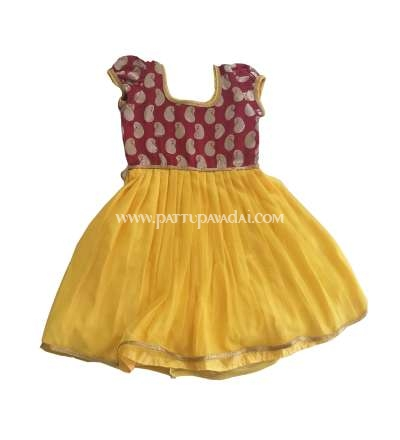 Mango Butta Frock Yellow and Maroon