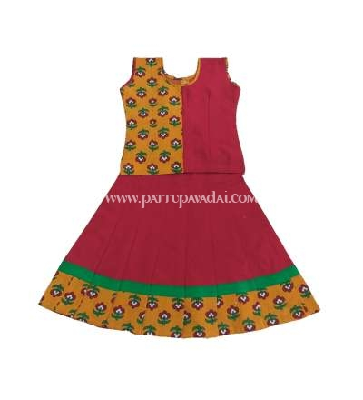 Mustard and Maroon Kalamkari Pavadai Set