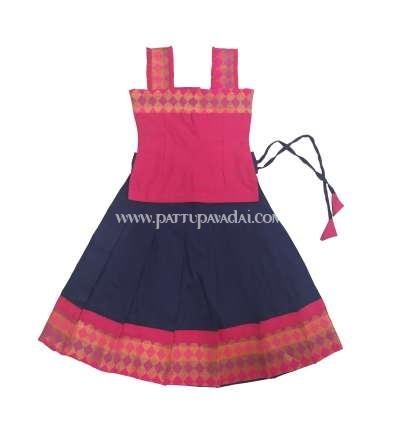 Navy Blue  and Pink Fancy Langa