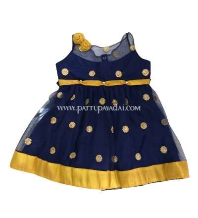 Navy Blue and Golden Netted Frock