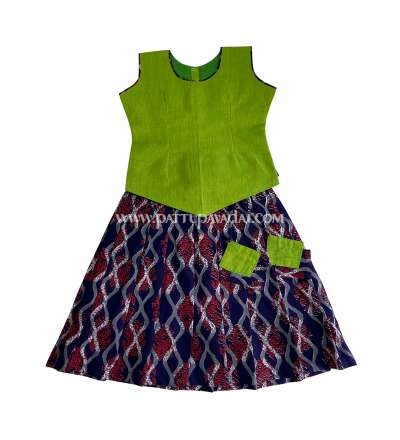 Navy Blue and Parrot Green Cotton Pavadai Set
