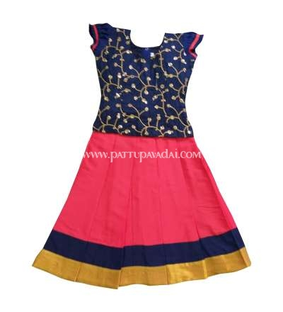 Buy Online Navy Blue designer top and Orange Skirt