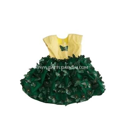 Netted Frock Green and Cream