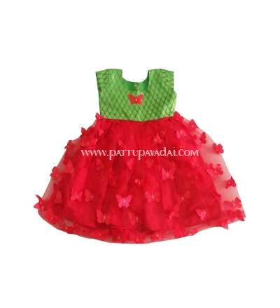 Netted Frock Red and Parrot Green
