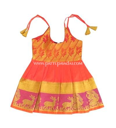 New Born Pattu Frock Orange