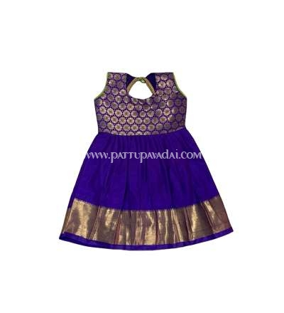 New Born Pattu Frock Violet