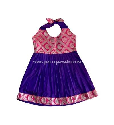 New Born Pink and Violet Pattu Frock