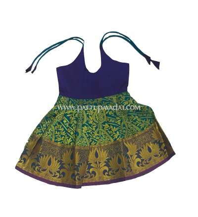 New Born Pure Silk Frock Blue and Purple only at pattupavadai.com