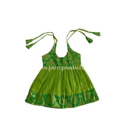 New Born Pure Silk Frock Parrot Green