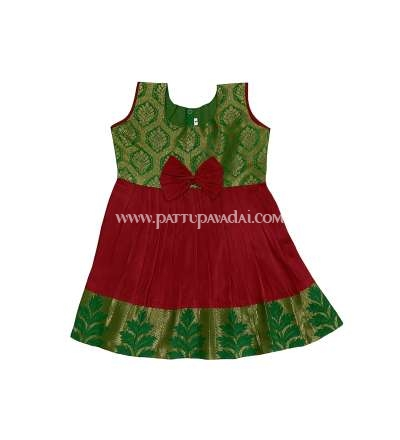 New Born Pure Silk Frock Red and Green
