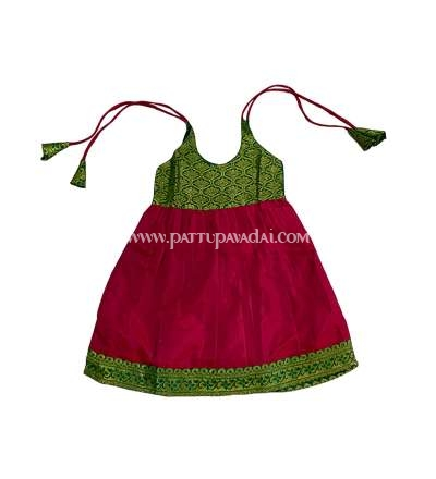 New Born Red and Green Silk Frock