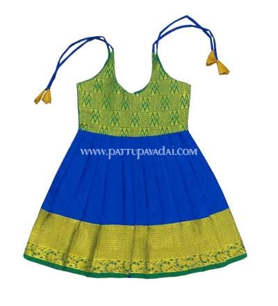 New Born Silk Frock Blue and Green