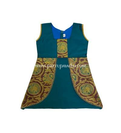 Kids Dark Green Pattu Frock